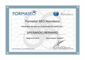 Certification Formation SEO « FormaSEO ». - M. Olivier Andrieu
