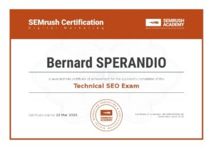 Certification SEMrush Technical SEO