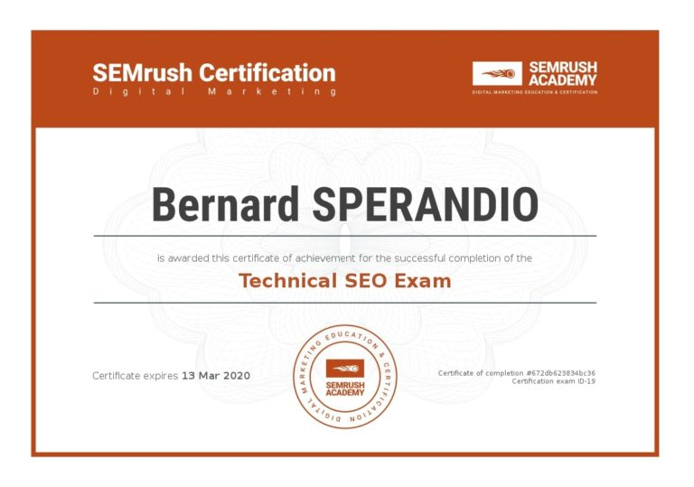 SEMrush Technical SEO Exam