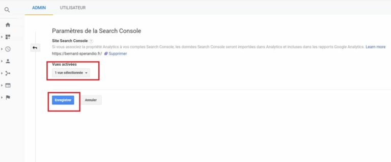 Connexion Search Console - Google Analytics
