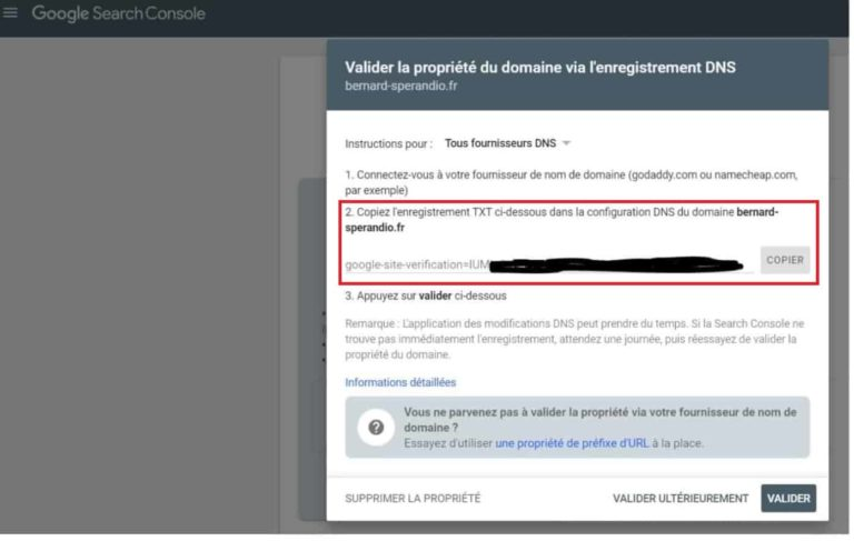 Google Search Console - Validation de la propriété du domaine via les DNS