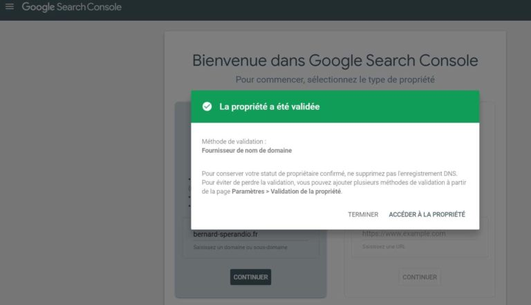 Google Search Console - Validation de la propriété