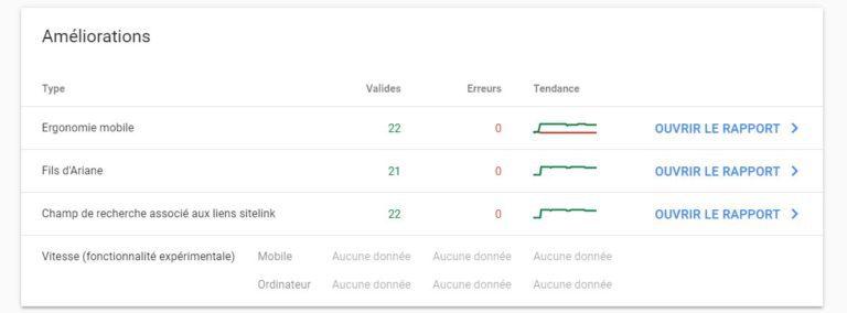 Google Search Console - Aperçu (Améliorations)