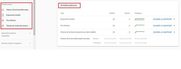Google Search Console - Détail rapport améliorationsture