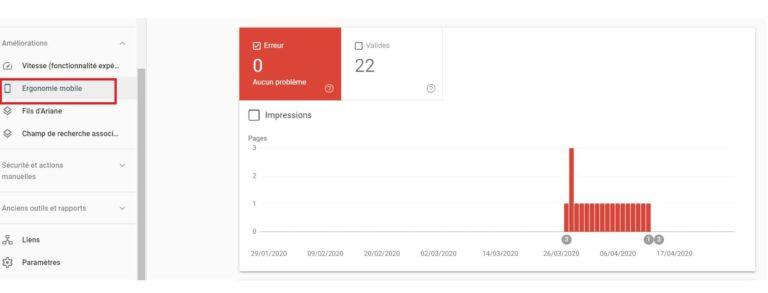 Google Search Console - Ergonomie mobile