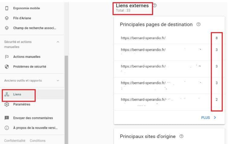 Google Search Console - Liens entrants