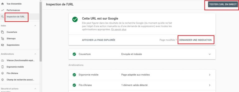 Google Search Console - Outil inspection URL