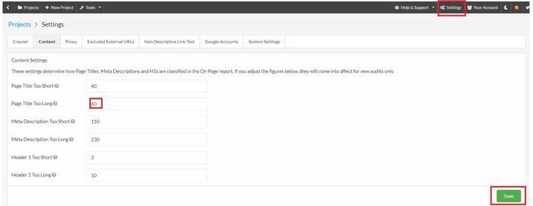 Sitebulb - Paramétrage audit