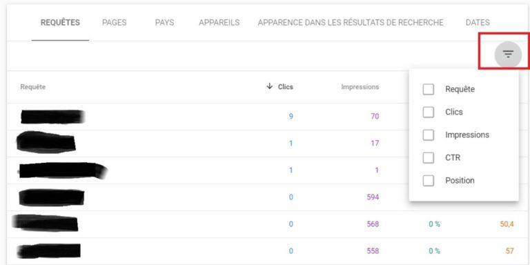 Google Search Console - Rapport des performances - Détails des données