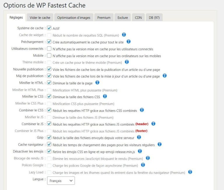 Réglages Plugin WP Fastest Cache