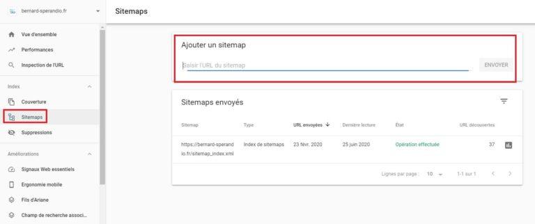 Ajout Sitemap XML - Google Search Console
