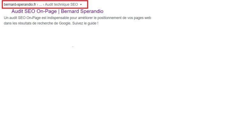 Fil d'Ariane - Serp Google