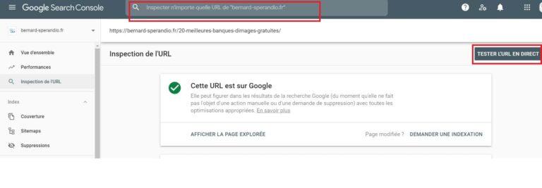 Test URL en direct - Google Search Console