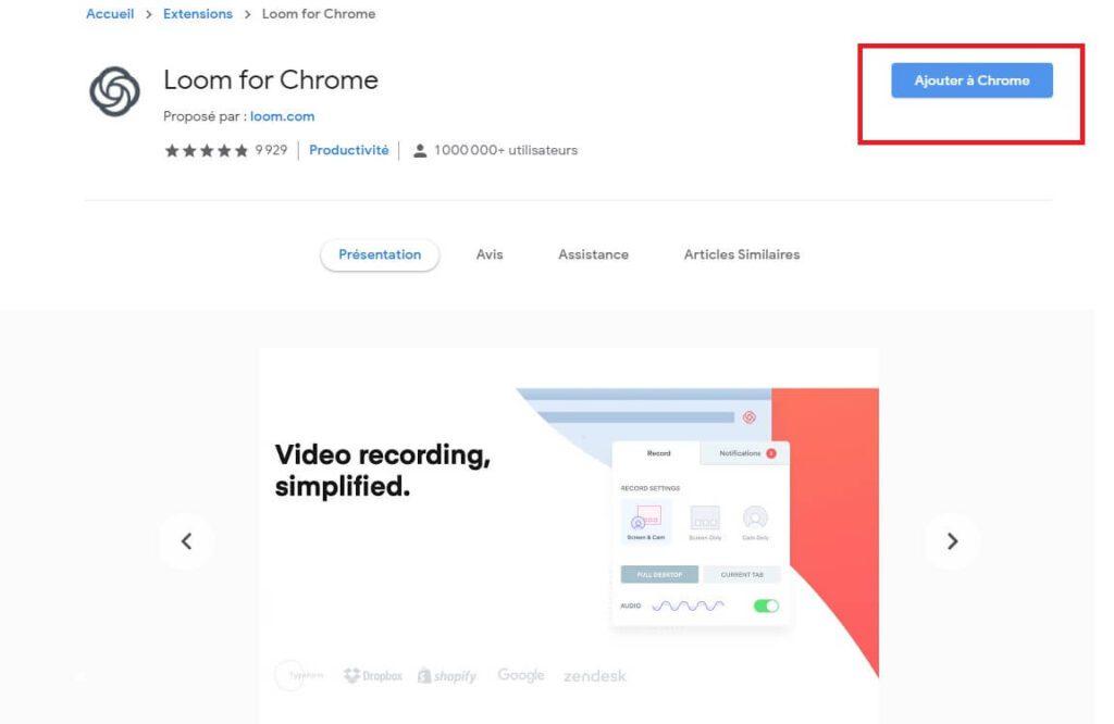 Installation extension Chrome