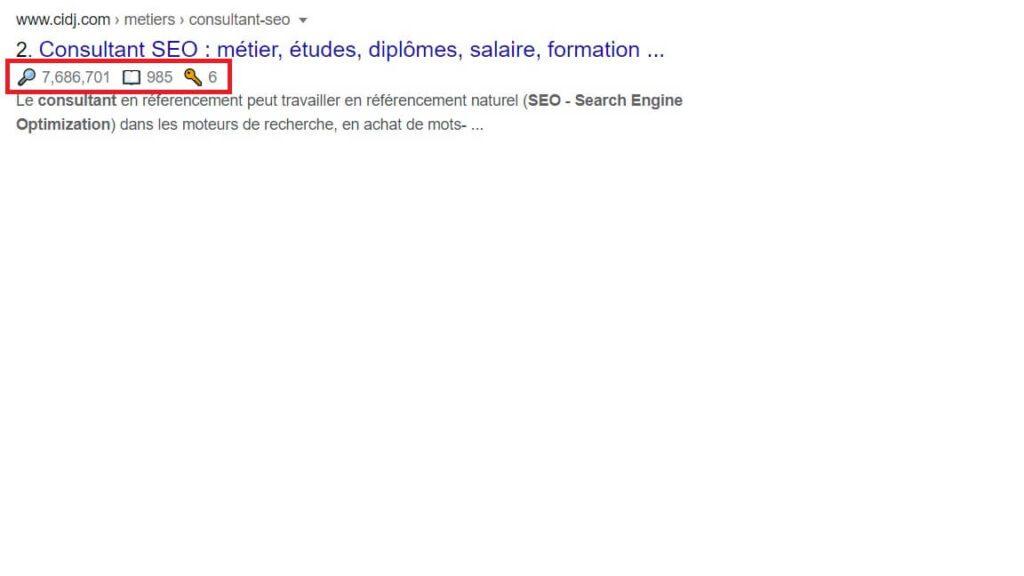 Extension SEO Chrome Keyword Surfer - SERP