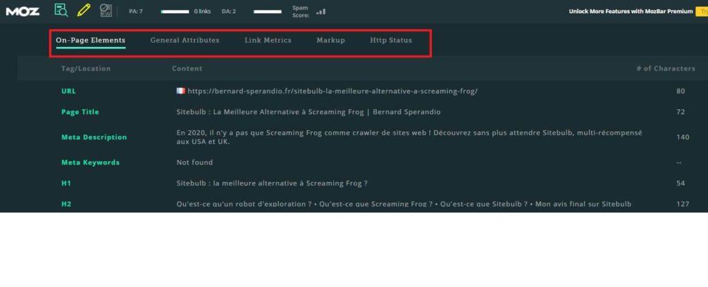 Extension SEO Chrome MozBar