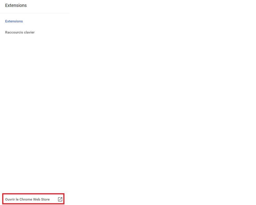 Ouvrir le Chrome Web Store