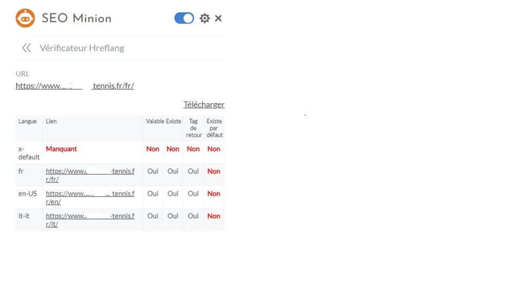 Extension SEO Chrome SEO Minion - Vérificateur Hreflang