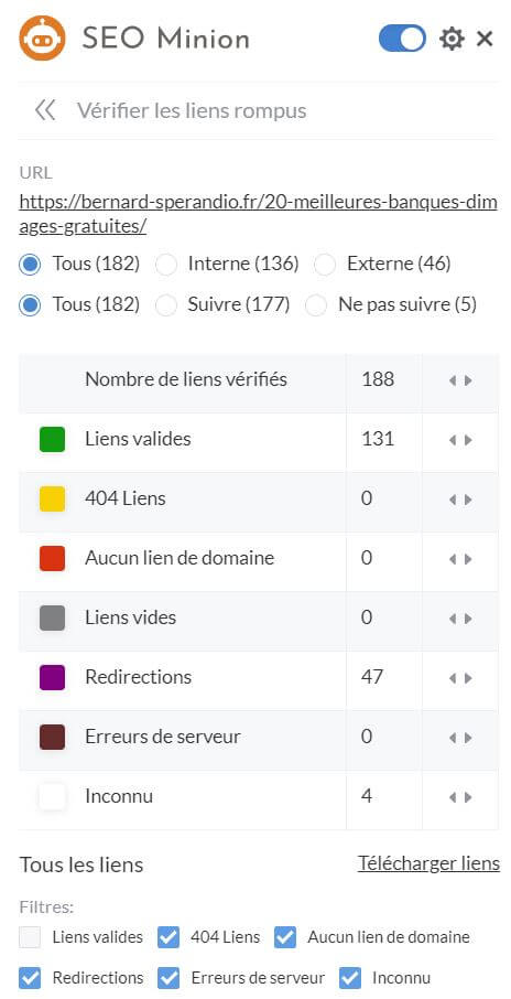 Extension SEO Chrome SEO Minion - Vérification des liens