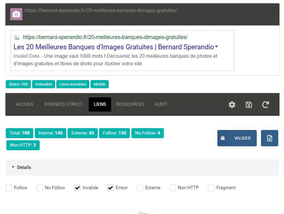 Extension SEO Chrome SeoInfo - Audit des liens