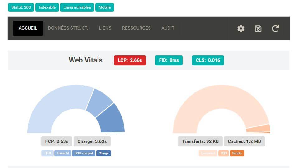 Extension SEO Chrome SeoInfo - Web Core Vitals