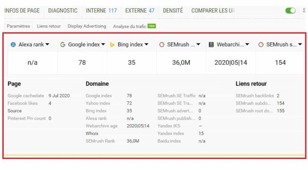Extension SEO Chrome SEOquake - Panneau général