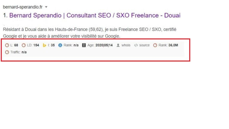 Extension SEO Chrome SEOquake - SERP