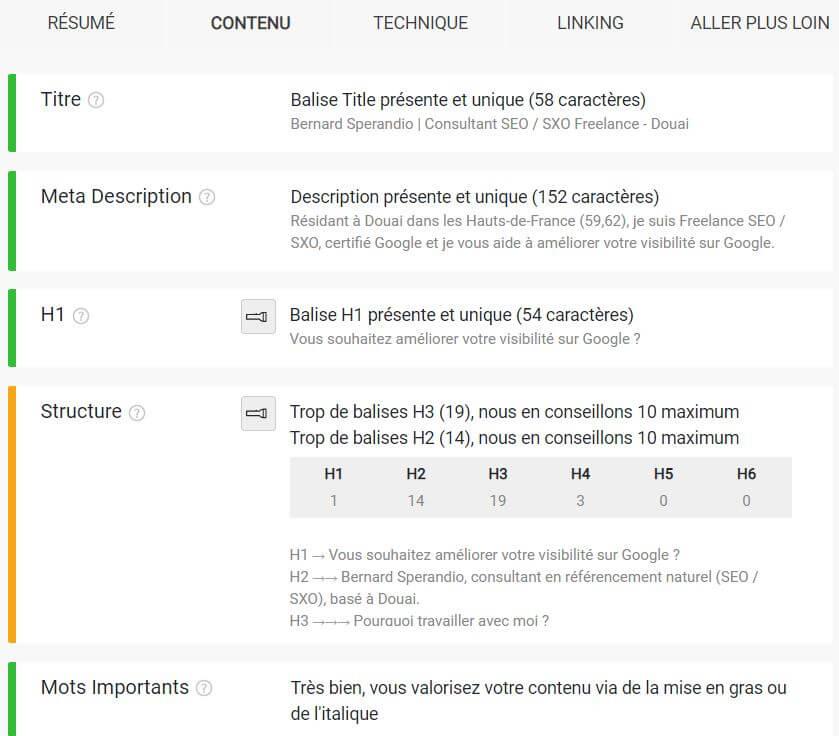 Extension SEO Chrome Smart SEO - Onglet contenu