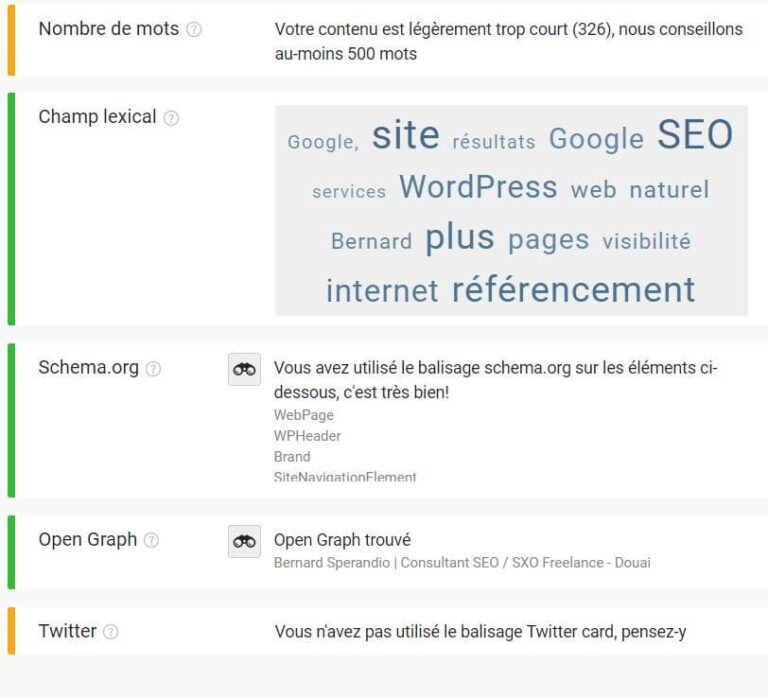 Extension SEO Chrome Smart SEO - Onglet contenu