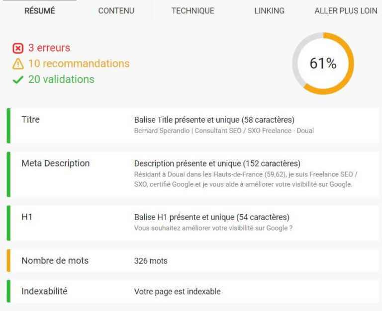 Extension SEO Chrome Smart Seo - Onglet résumé