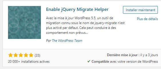 Plugin WordPress Enable jQuery Migrate Helper
