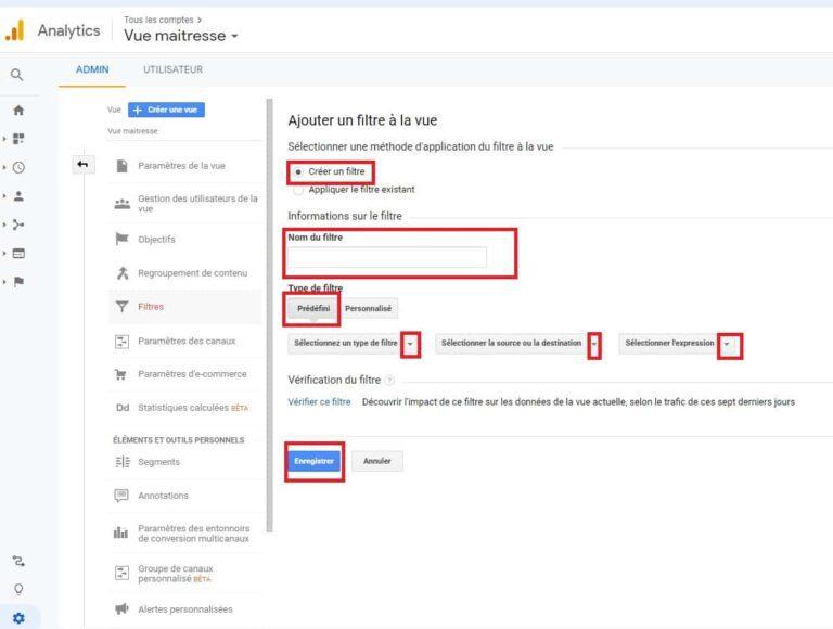 Ajout d'un filtre à la vue - Google Analytics