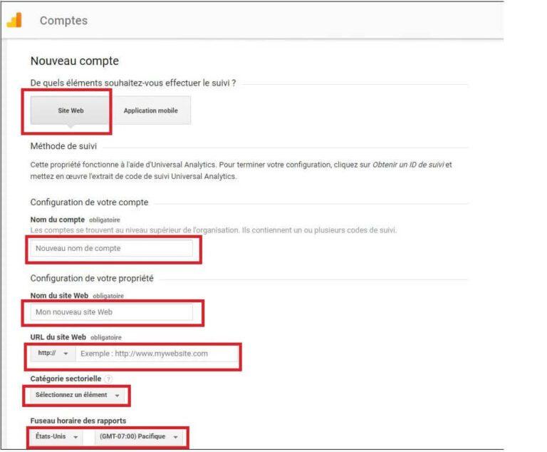 Inscription Google Analytics