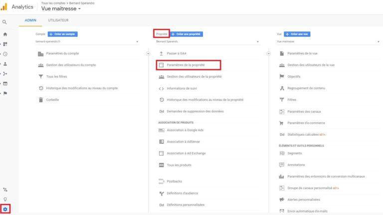 Paramètres de la propriété - Google Analytics