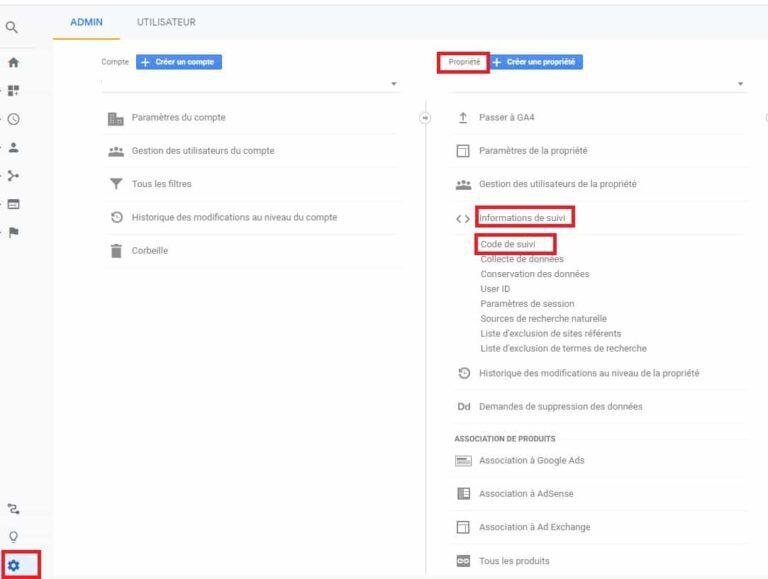 Retrouver code de suivi Google Analytics