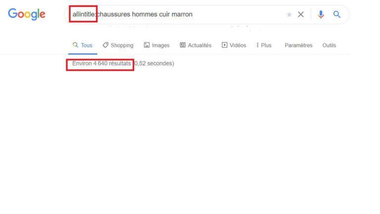 Syntaxe Google allintitle:
