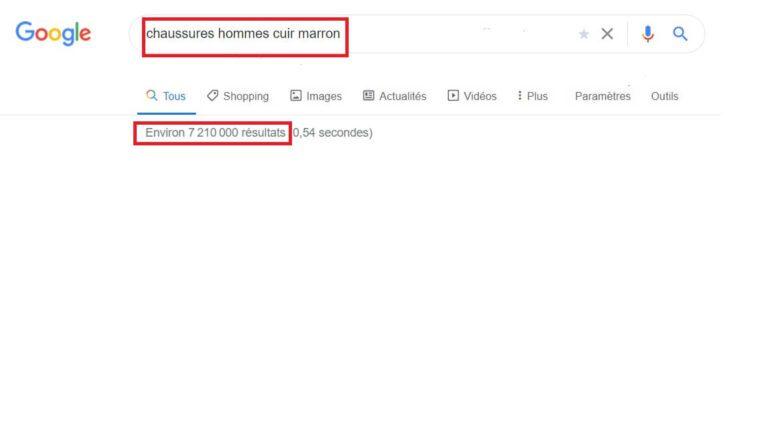 Volume de résultats du mot-clé - Google