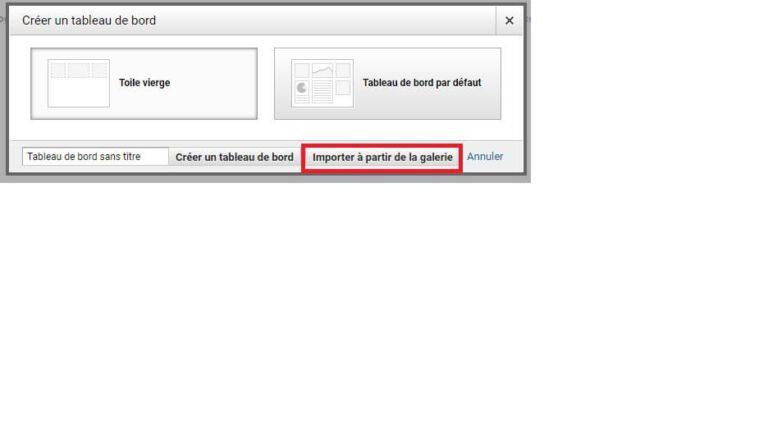 Importer un tableau de bord à partir de la galerie Google Analytics