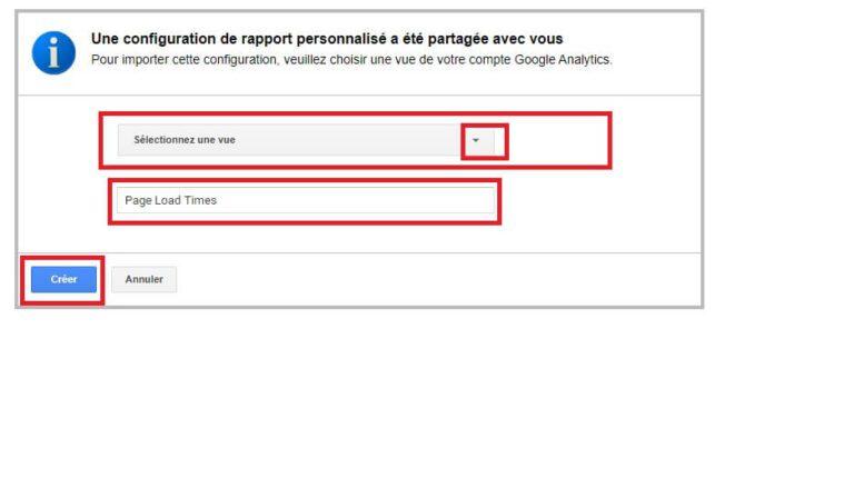 Import tableau de bord galerie Google Analytics