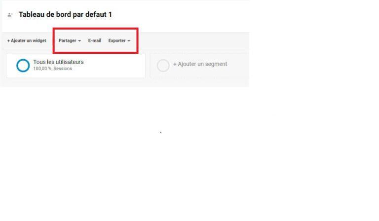 Partage d'un tableau de bord Google Analytics