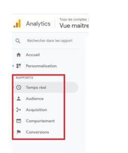 Rapports - Google Analytics