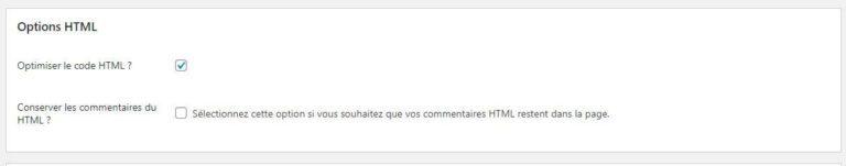 Réglages HTML - Autoptimize