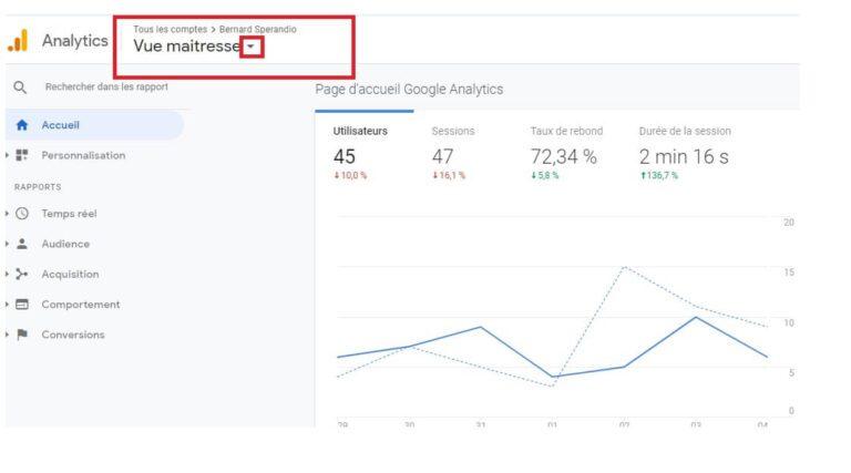 Sélecteur de comptes - Google Analytics