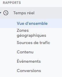 Sous-menus détaillés des rapports en temps réel - Google Analytics