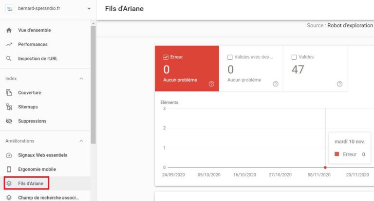 Rapport balisage fil d'Ariane - Google Search Console