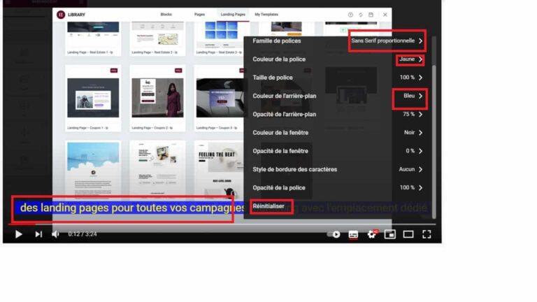 Diverses options sous-titres Youtube