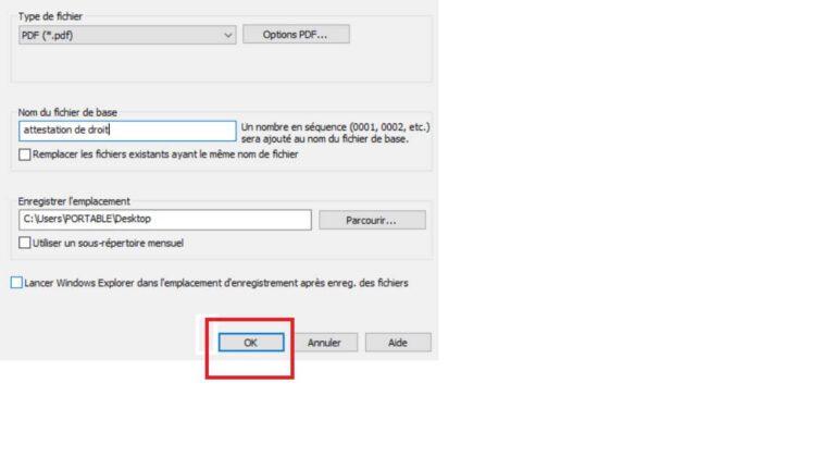 Enregistrer numérisation PDF