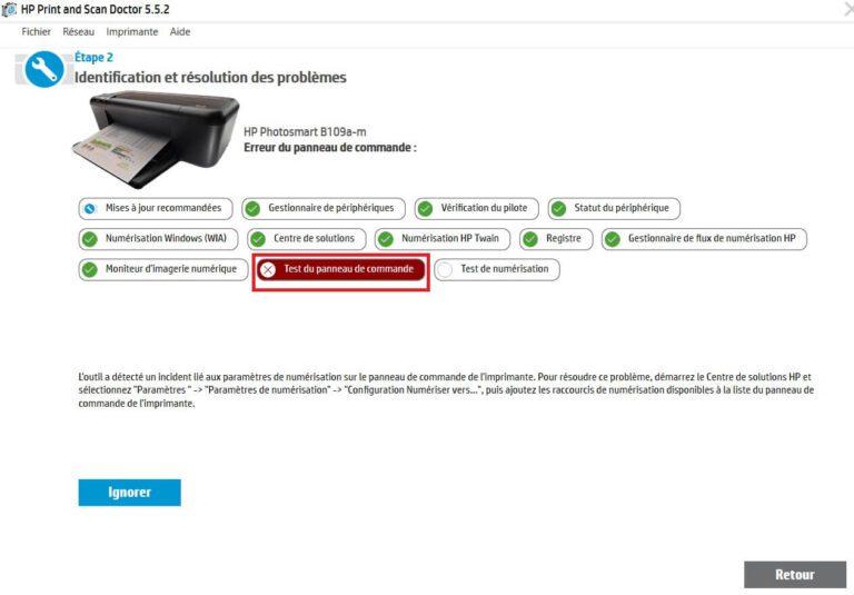 Identification problème test de commande HP