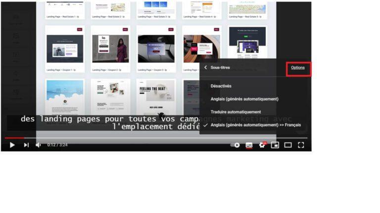 Options des sous-titres YouTube