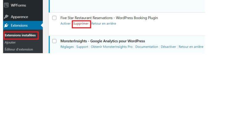 Supprimer un plugin WordPress